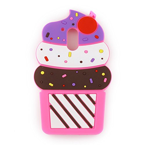 Moto G4 / G4 Plus Case, 3D Cute Cartoon Cherry Cupcakes Ice Cream Shaped Soft Silicone Case Bumper Back Cover for Motorola Moto G4 / G4 Plus (Moto G Plus, 4th Gen) (5.5