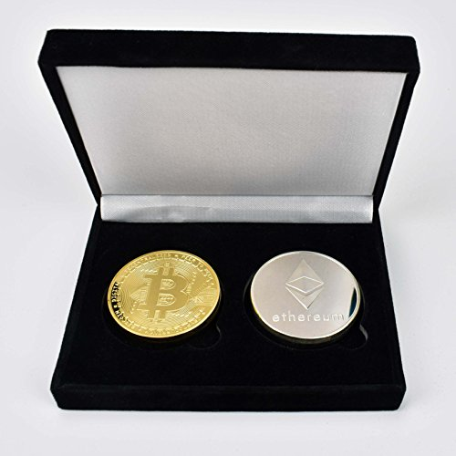 2PCs Bitcoin Ether Set (Gold & Silver Plated) w/ Unique Bitcoin Velvet Display Case to HODL Cryptocurrency - Limited Edition BTC Crypto Coins | Unique Gifts for Adults/ Funny Gift - In Men Metal Hottest