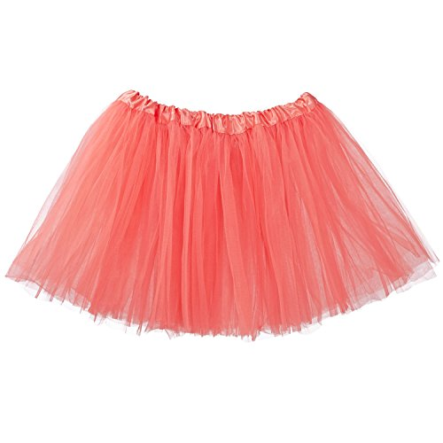 (My Lello Adult Tutu Skirt, Classic Elastic 3 Layer Tulle Tutu for Women and Teens - Coral)