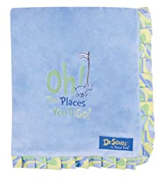 Trend Lab Dr. Seuss Ruffle Trim Receiving Blanket, Oh! the Places You\'ll Go! Blue