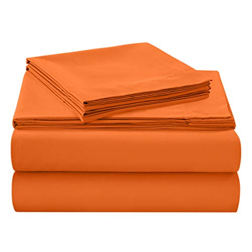 HollyHOME 1500 Soft Hypoallergenic Brushed Microfiber Bed Sheet Set, 4 Pieces Queen Size Sheets, Orange -
