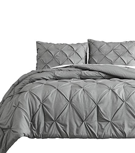Pinch Pleat 3pc King/Cal-King Size Comforter Set Pintuck Bedding Light Grey Bed Cover
