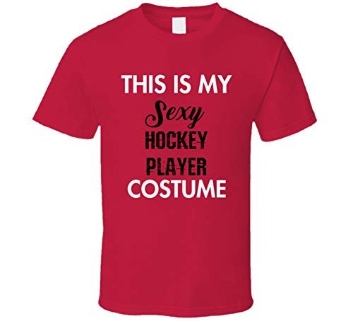 SHAMBLES TEES This is My Sexy Hockey Player Costume Funny Occupation Halloween T Shirt L Red]()