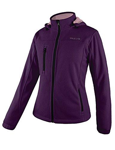 Baleaf Women's Fleece Full Zip Hoodie Jacket Detachable Hood Purple Size -
