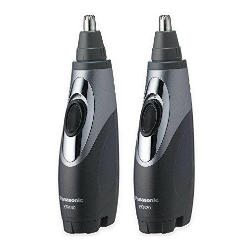 Panasonic ER430K Ear & Nose Trimmer with Vacuum Cleaning System, Men's, Wet/Dry, Battery-Operated (2-Pack)
