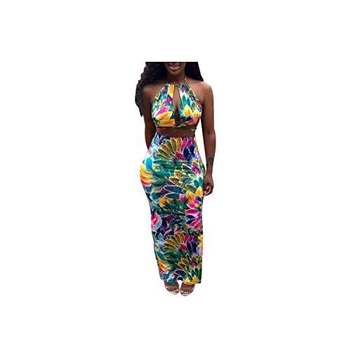 Sexy Style Women 2 Piece Backless Set Print Halter Sleeveless Top Long Skirt Skinny Vacation Dress,Green,XL