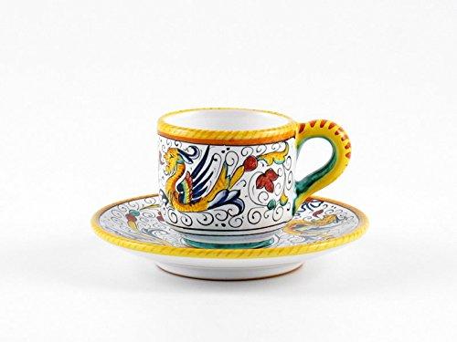 Hand Painted Italian Ceramic Espresso Cup & Saucer Raffaellesco - Handmade in Deruta