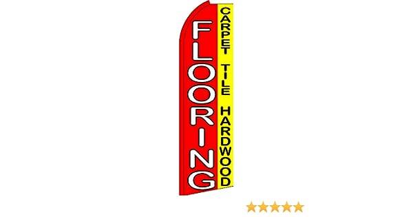 Windless Feather Flag Bundle 11.5 Tall Flag, 15 Tall Flagpole, Ground Mount Stake Flooring Carpet, Tile, Hardwood