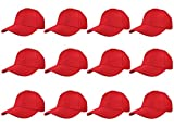 Gelante Plain Blank Baseball Caps Adjustable Back Strap Wholesale LOT 12 Pack- 001-Red