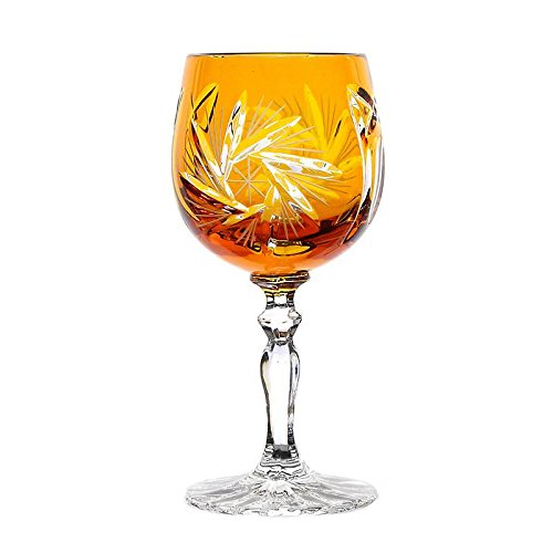 Liqueur glass ''Schleuderstern'' (60ml) yellow, lead crystal glass, modern style, glass (CRISTALICA KINGDOM powered by CRISTALICA)