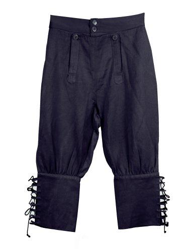 Tortuga Pirate Pants - Black (L/XL) Pirate, Halloween or Renaissance Costume (Jack Sparrow Boots)