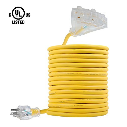 TerraBloom 25 Ft 12/3 Extension Cord With Lighted Triple Tap Outlets. Extra Flexible SJEOW TPE 125 Volts 1875 Watts Power Wire. All-Weather Heavy Duty For Outdoor, Garden and Major Electric Appliances