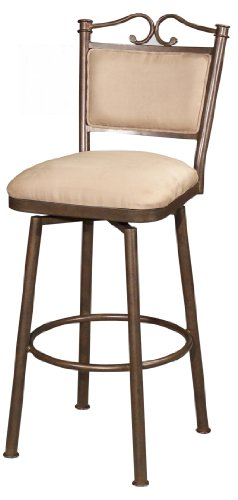 Chintaly Imports 0707 Memory Return Swivel Bar Stool, 30-Inch, Autumn Rust/Taupe Suede (Autumn Stool Rust Bar)