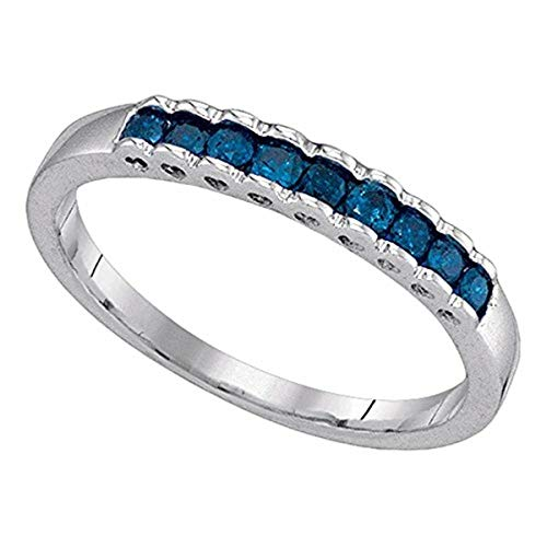 (Womens Princess Blue Color Enhanced Diamond Ribbed Band Ring 1/4-Carat tw, in 10K White Gold from Roy Rose Jewelry)