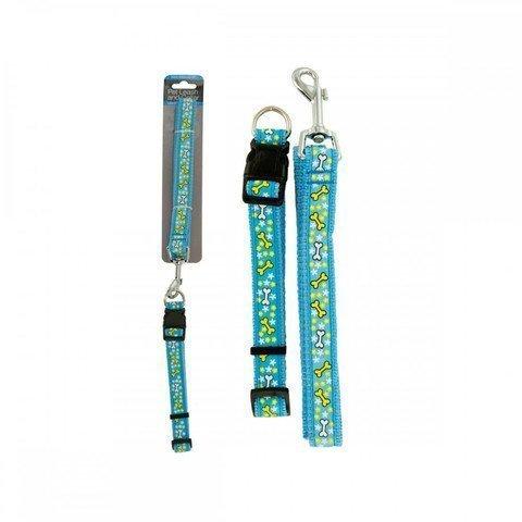 Kole KI-OF885 Bone Print Dog Leash & Adjustable Collar, One Size
