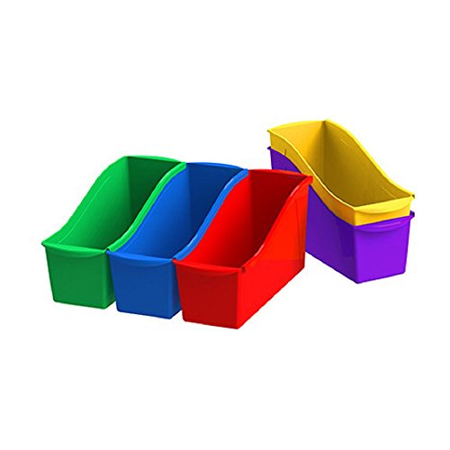 Storex Interlocking Book Bins, 5 1/3 W x 14 1/3 L x 7 H, 5 Color Set, Plastic -
