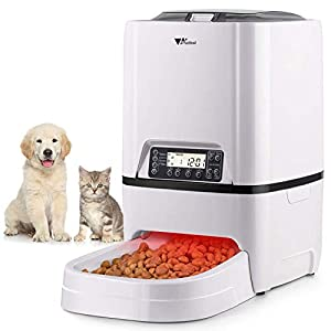 amzdeal Automatic Cat Feeder 6L Pet Feeder Dog Food Dispenser with Time and Meal Size Programmable, LCD Display and Meal Call Recorder Up to 4 Meals A Day 35