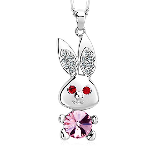 FANSING Mothers Day Gifts Jewelry Crystal Rabbit Pendant Alloy Chain Necklaces for Women Pink (Dark Angel Halloween Costume For Kids)