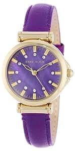 Anne Klein Women's AK/1458PMPR Genuine Leather Gold-Tone Swarovski Elements Purple Strap Watch