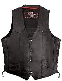 Mens Side Lace Vest with Gun Pocket (Black, X-Large)