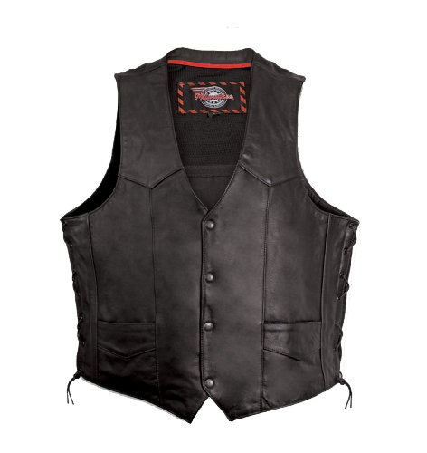 Milwaukee Motorcycle Clothing Company Mens Side Lace Vest with Gun Pocket (Black, (Western Leather Clothing)