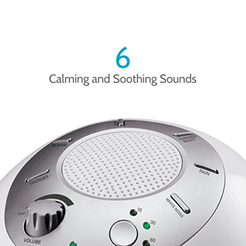 White Noise Sound Machine   Portable Sleep Therapy for Home , Office , Baby & Travel   6 Relaxing & Soothing Nature Sounds , Battery or Adapter Charging Options , Auto-Off Timer   HoMedics Sound Spa