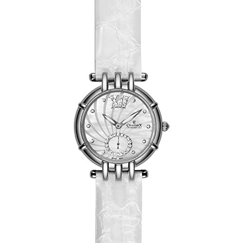 Charmex Pisa 6135 31mm Stainless Steel Case White Calfskin Synthetic Sapphire Women's Watch