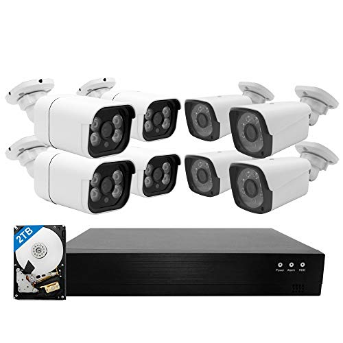 PoE Home Security Camera System,WESECUU 1080P 8CH Surveillance NVR System with 2TB Hard Drive,8PCS Outdoor PoE Cameras with Floodlight,Color Night Vision,Two Way Talk,AI Human Detection,Siren Alarm