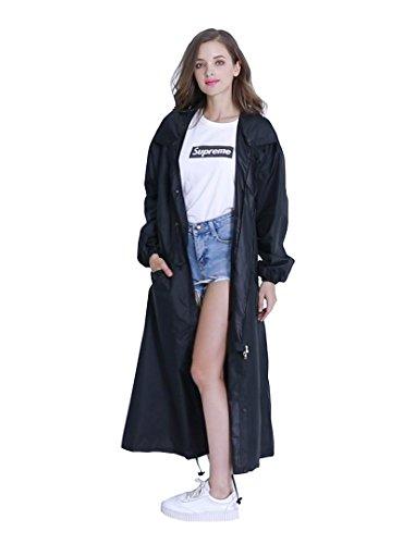 (Women's Stylish Long Rain Poncho Waterproof Rain Coat with Hood and Multi Color Pattern (Black, M))