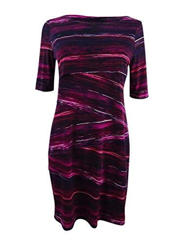 Connected Women's Petite Printed Tiered Sheath Dress (4P, Wine) by Connected