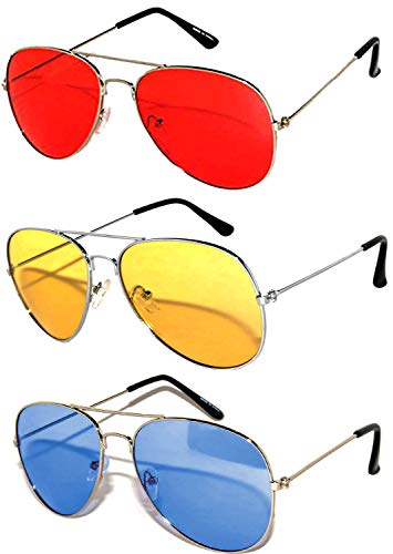 3 Pack Aviator Sunglasses UV Protection Color Lens Metal Frame Unisex (3-pack-avi-red-yell-blu, Colored) -