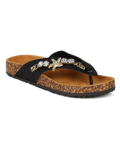 Nature Breeze BB70 Women Leatherette Jew - Ladies Jeweled Thong Sandal Shopping Results
