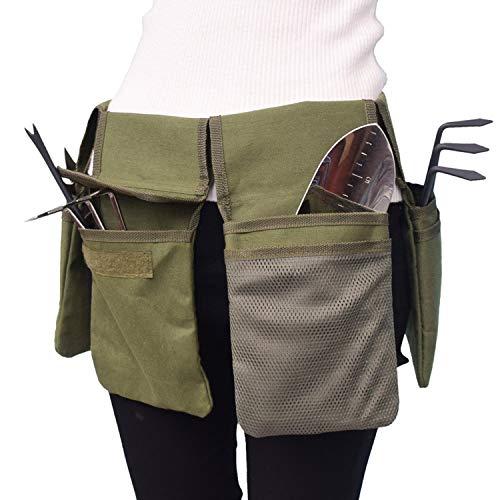 Decdeal Garden Tool Belt Canvas Waist Tool Apron with Pockets Gardening Kit Tote Bag Home Organizer Gardening Tool Kit Holder Lawn Yard Storage Bag Carrier