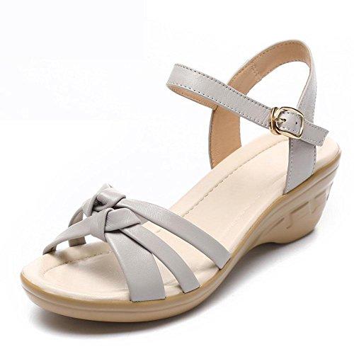 Sommer weiß Größe Schuhe 42 Großen YC Leder Mädchen Slope Frauen Leder Sandalen Kleid L Mit Skid Bequeme Schuhe Weiches q41xn8In
