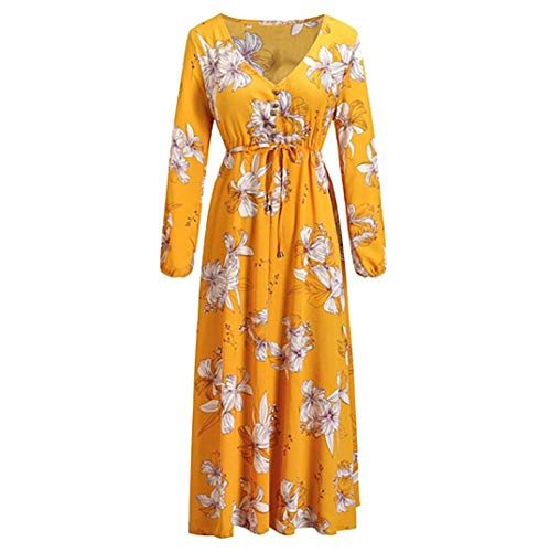DEATU Ladies Dress, Teen Women Autumn Fashion Long Sleeve V-Neck Printed Ankle-Length Striking Yellow Dress(Yellow,L) -