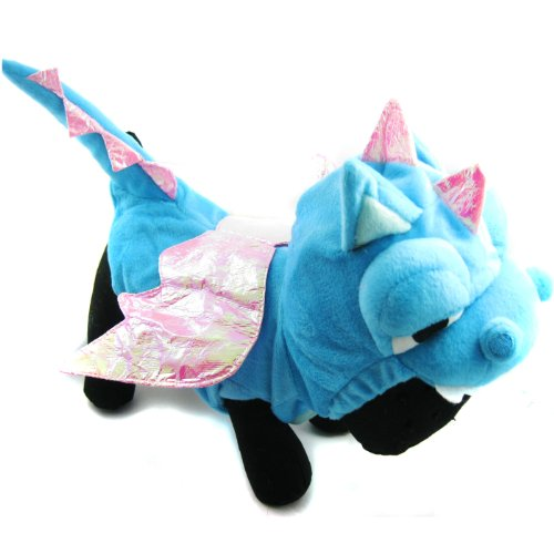 Alfie Couture Designer Pet Apparel – Smokie the Dragon Dinosaur Costume – Color: Blue, Size: S, My Pet Supplies