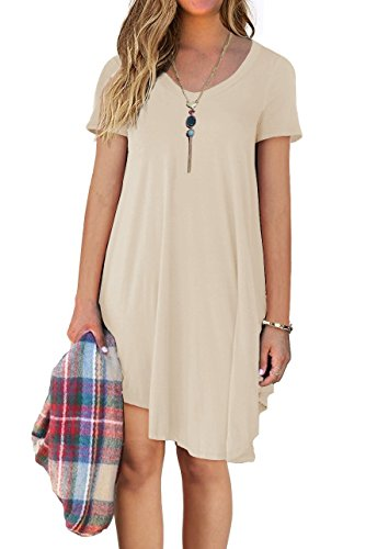 DEARCASE Women's Short Sleeve Casual Loose T-Shirt Dress Beige XL ()