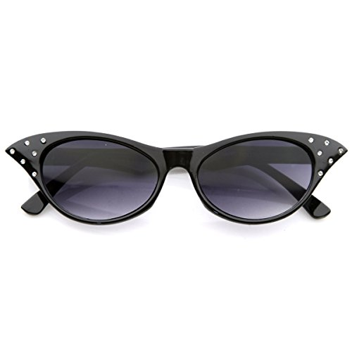 zeroUV - Vintage Inspired Unique 50s Fashion Womens Cat Eye Sunglasses with Rhinestones (Black) (Fifties Cat Eye Rhinestone Glasses)