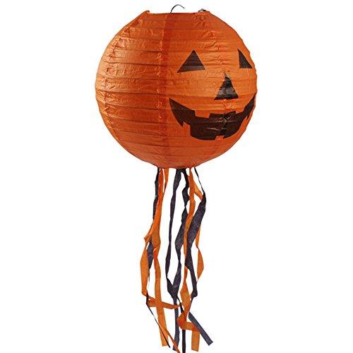 Halloween Lifelike vivid Tassels Pumpkin Paper Lantern Lamp Party (Paper Mache Halloween Lanterns)