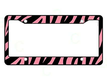 Amazon.com: Pink Zebra Print License Plate Frame (Made of Plastic ...