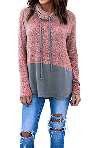 Hibluco Women's Cowl Neck Long Sleeve Pullover Sweater Blouse Knit Tops Pink