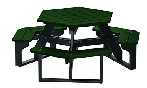 Evergreen Table (4' Recycled Plastic Hex Table - Seats 6 People - Black Frame - Evergreen)