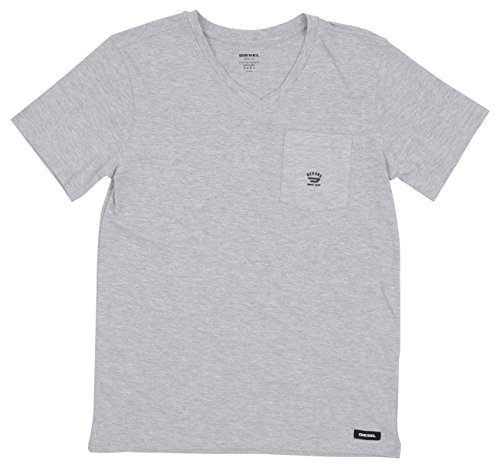 Diesel Kids Boys Clothing (Diesel Big Boys' Short Sleeve Solid V-Neck T-Shirt, Light Grey Melange Jeac, 10/12)