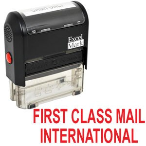 FIRST CLASS MAIL INTERNATIONAL Self Inking Rubber Stamp - Red Ink - International Mail Class First