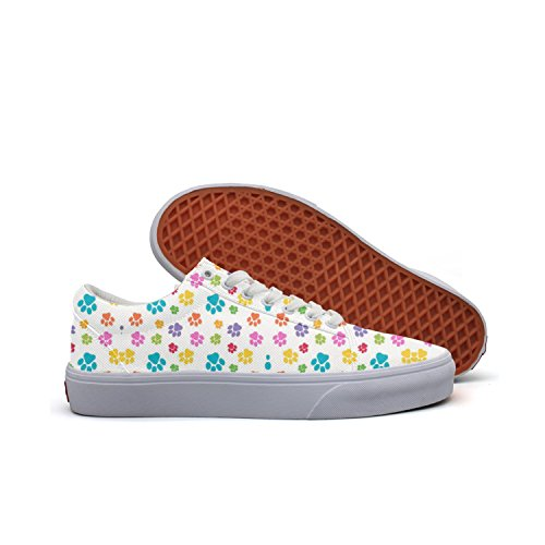 Puppy Dog Bear Cat Paw Purple Blue Red Men Canvas Low Top Skateboarding Shoes