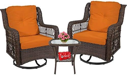3 Piece Patio Furniture Wicker Rattan Rocker Bistro Furniture Set Out Door Furniture Set,Rocking Chair Set
