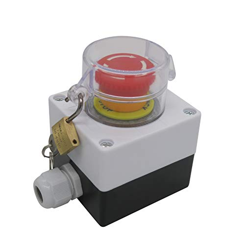 Taiss / 22mm 2 NC Red Mushroom Latching Action Emergency Stop Push Button Switch Cover Station 10A 440V Stop Switch box With Key Lock (Warranty 3 years) LA38A-02ZS/BOX-ZS