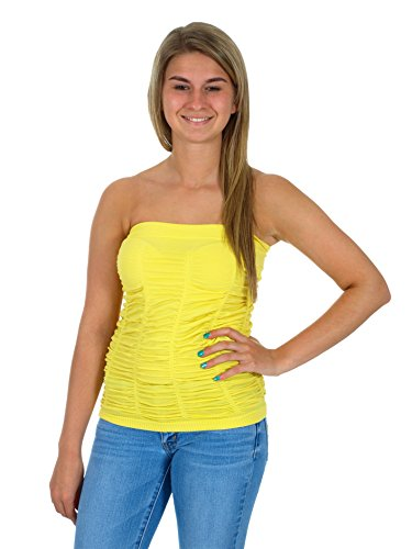 Bandeau Tube Top / Clubwear Party Tube Top (XL/2X, Yellow) - Lycra Halter Cami Top