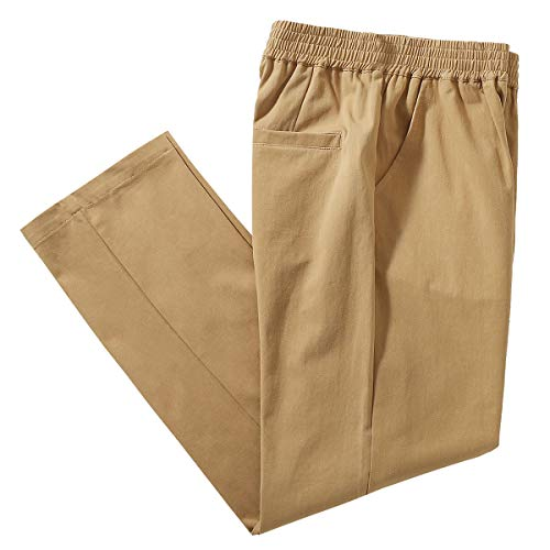 IDEALSANXUN Men's Casual Cotton Pant Elastic Waist Loose Twill Pants (40, Twill Dark Khaki)