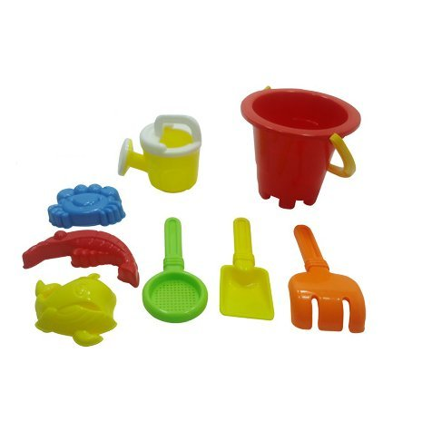 Sandbox Set (Summer Fun 6 Piece Children's Kid's Mini Toy Beach/Sandbox Tool Play set, Comes with Watering Bucket, Hand Tools, Sand Molds (Colors May Vary) by YMCtoys)